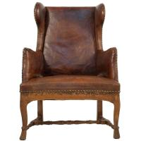 Baroque Wingback Chair in Leather at 1stdibs
