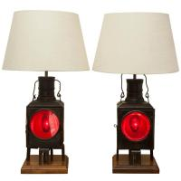 Pair of Antique Train Lantern Lamps For Sale at 1stdibs