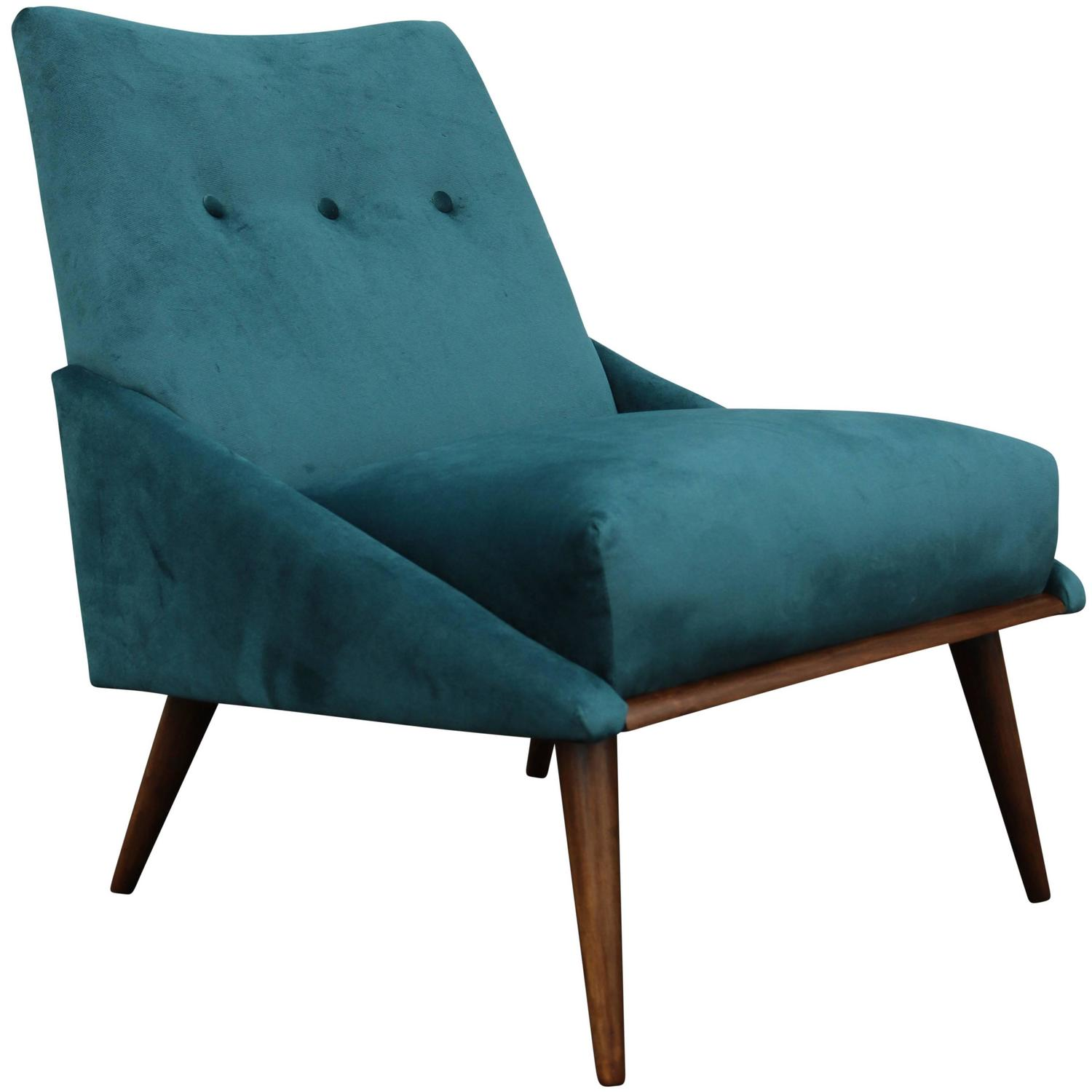 Midcentury Chairs Peacock Velvet Mid Century Modern Chair At 1stdibs