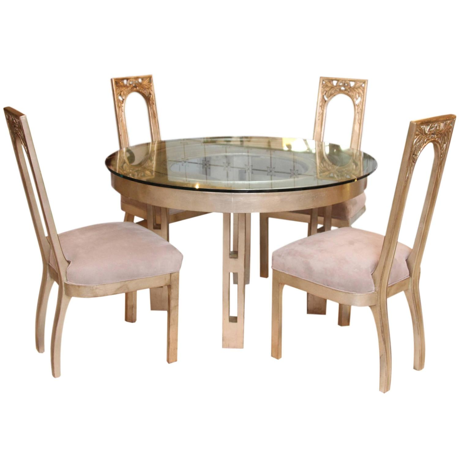 four chair dining set high floor mat 1960s glazed silver leaf round table and