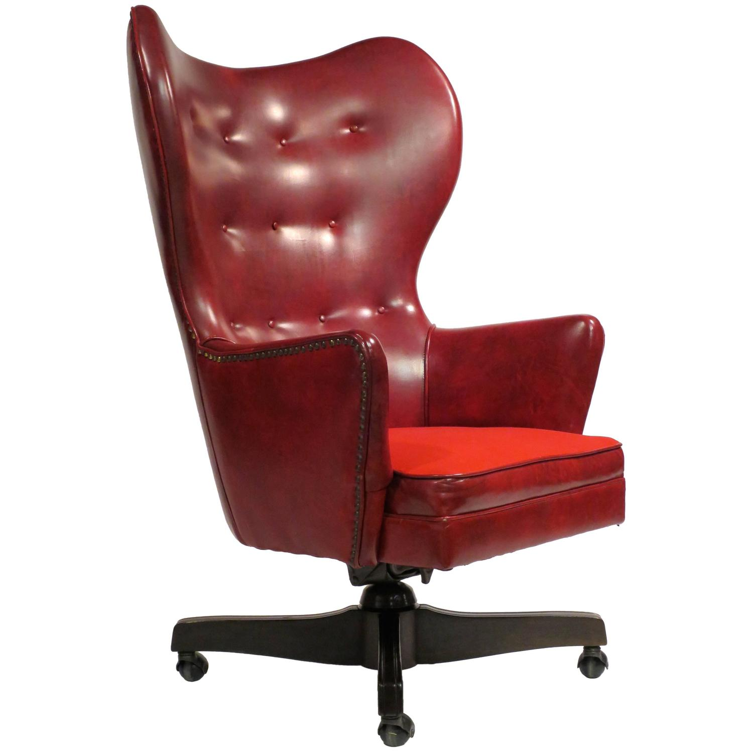 Roller Chairs Leather Wingback Rolling Chair By Schafer Bros At 1stdibs
