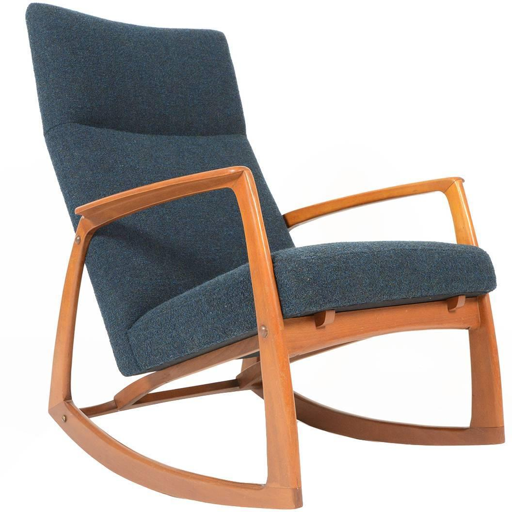 danish modern rocking chair deep seating patio chairs teak in aegean blue wool at