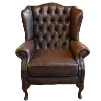 Tufted Leather Wing Chair at 1stdibs