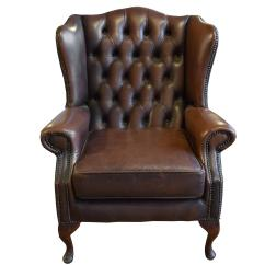 Tufted Leather Wingback Chair Cheap Study Desk And Wing For Sale At 1stdibs