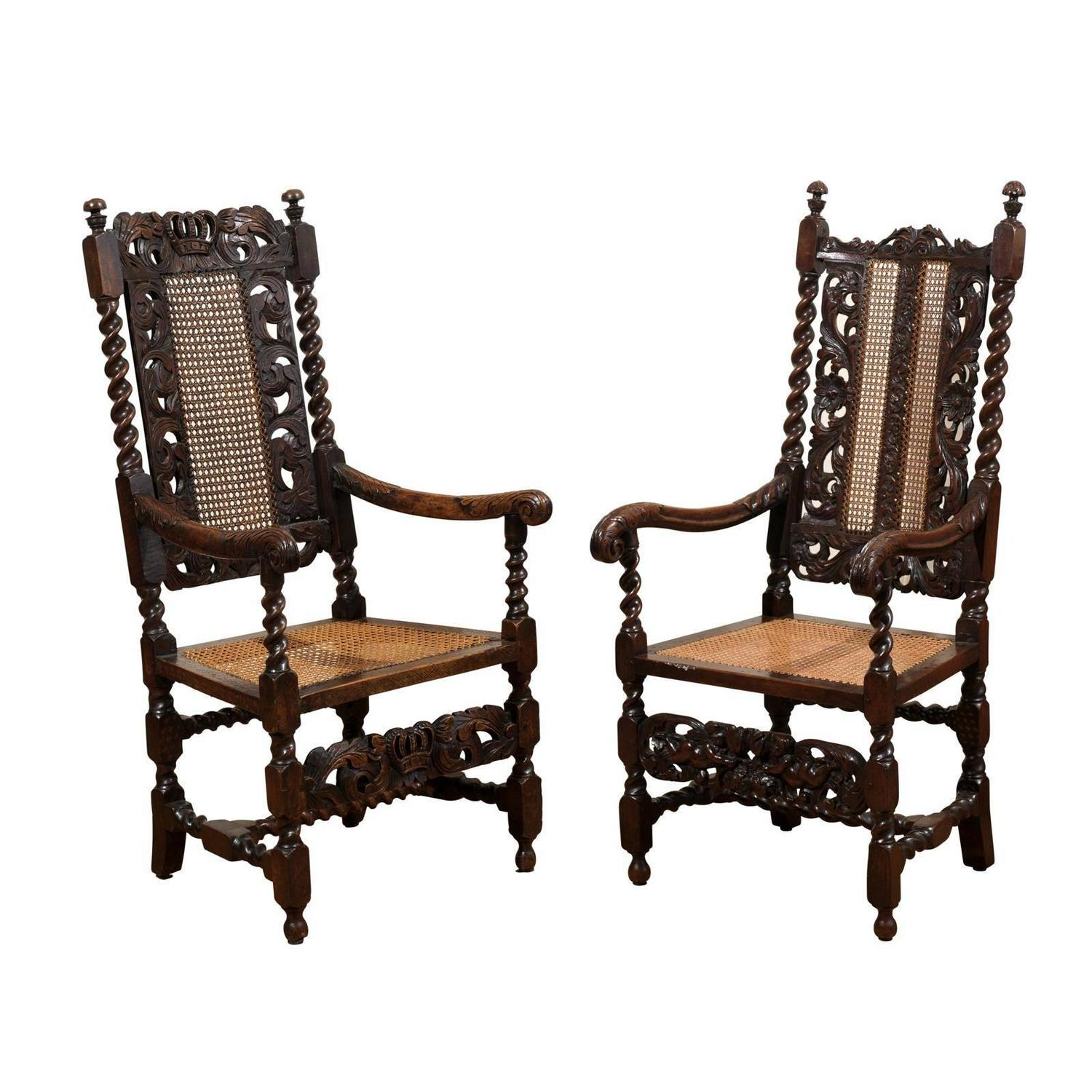 barley twist chair bamboo style dining chairs pair of english 17th century arm for