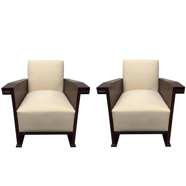 art deco style club chairs mid century modern chair pair of mahogany for sale at 1stdibs