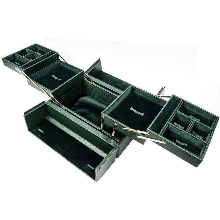 Tanner Krolle London Green Leather Jewelry Case New At