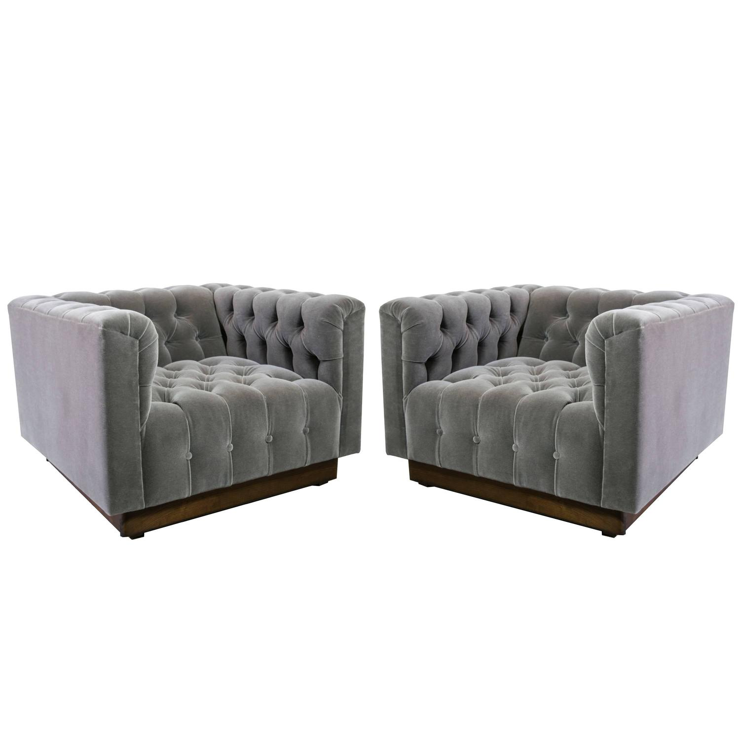 Grey Oversized Chair Oversized Milo Baughman Tufted Lounge Chairs In Smoky Gray