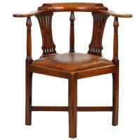 """Antique """"Roundabout"""" Corner Chair with Leather Seat, circa ..."""