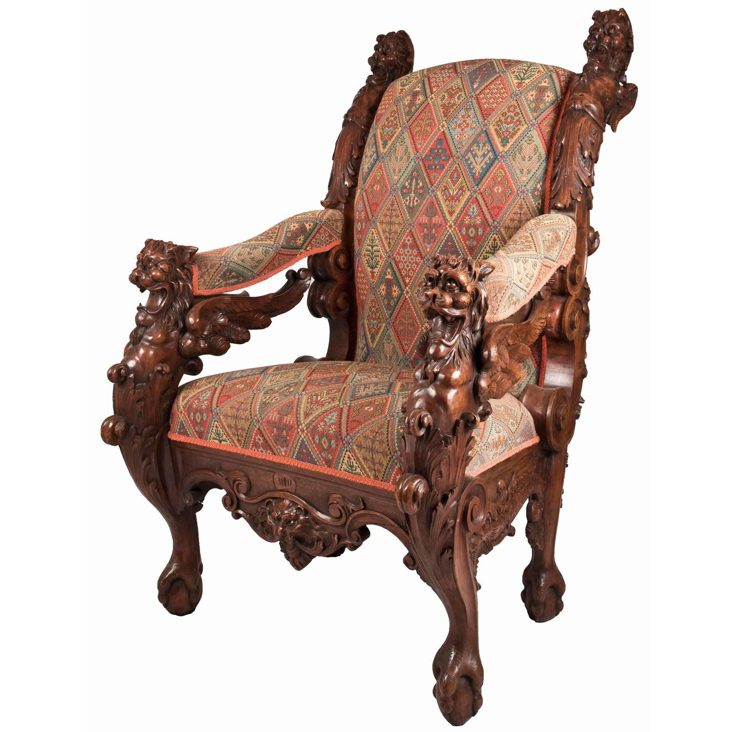 throne chair for sale boston rocking cushions 19th century german carved mahogany