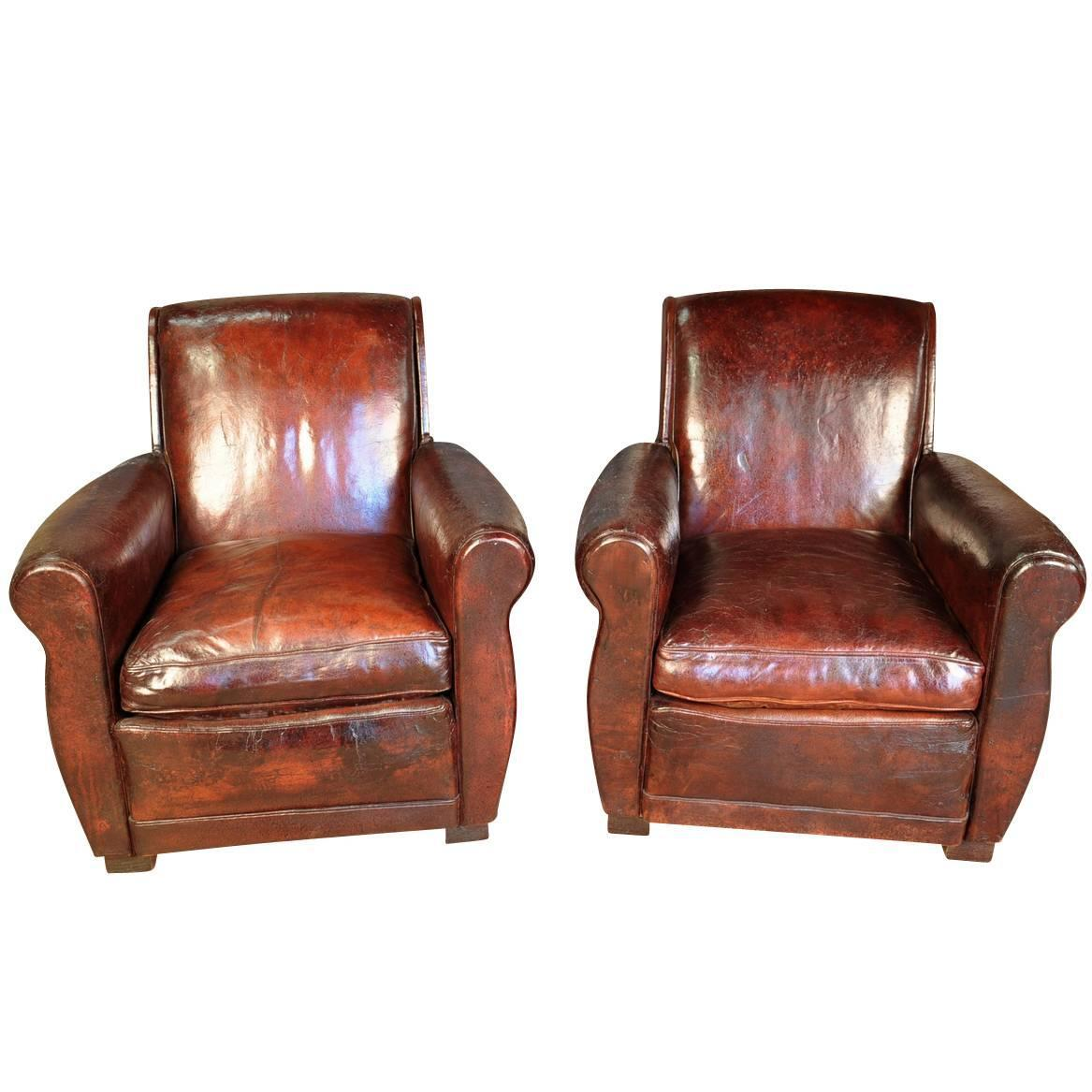 art deco club chairs leather front porch chair pair of french for sale at