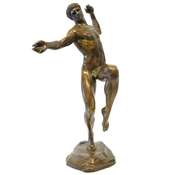 Male Figure Bronze Sculpture Listed American Artist