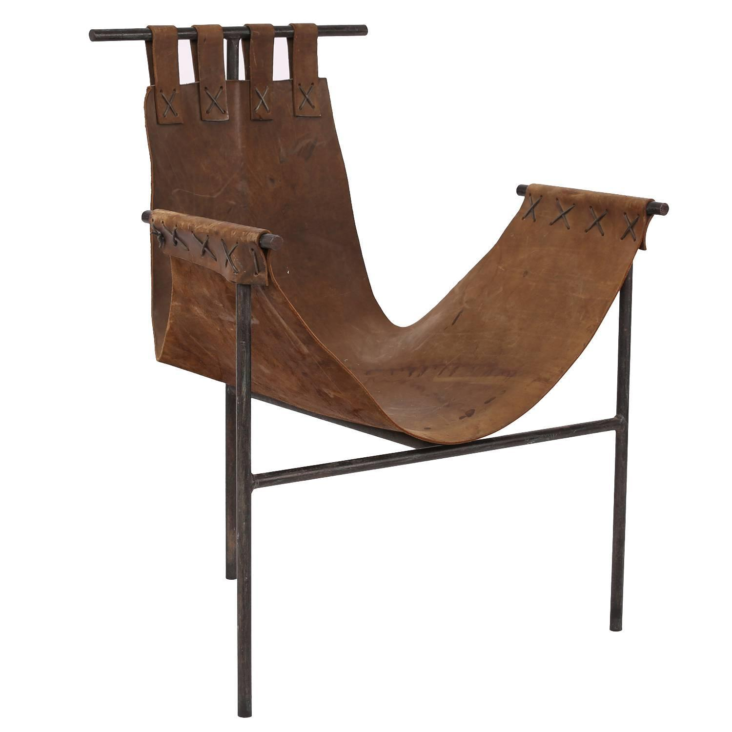 sling chairs for sale faux leather chaise lounge chair iron and saddle at 1stdibs