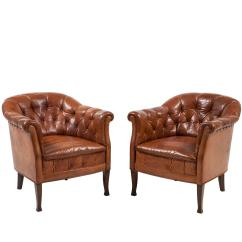 Swedish Leather Recliner Chairs Cherry Dining Room Pair Of Club At 1stdibs
