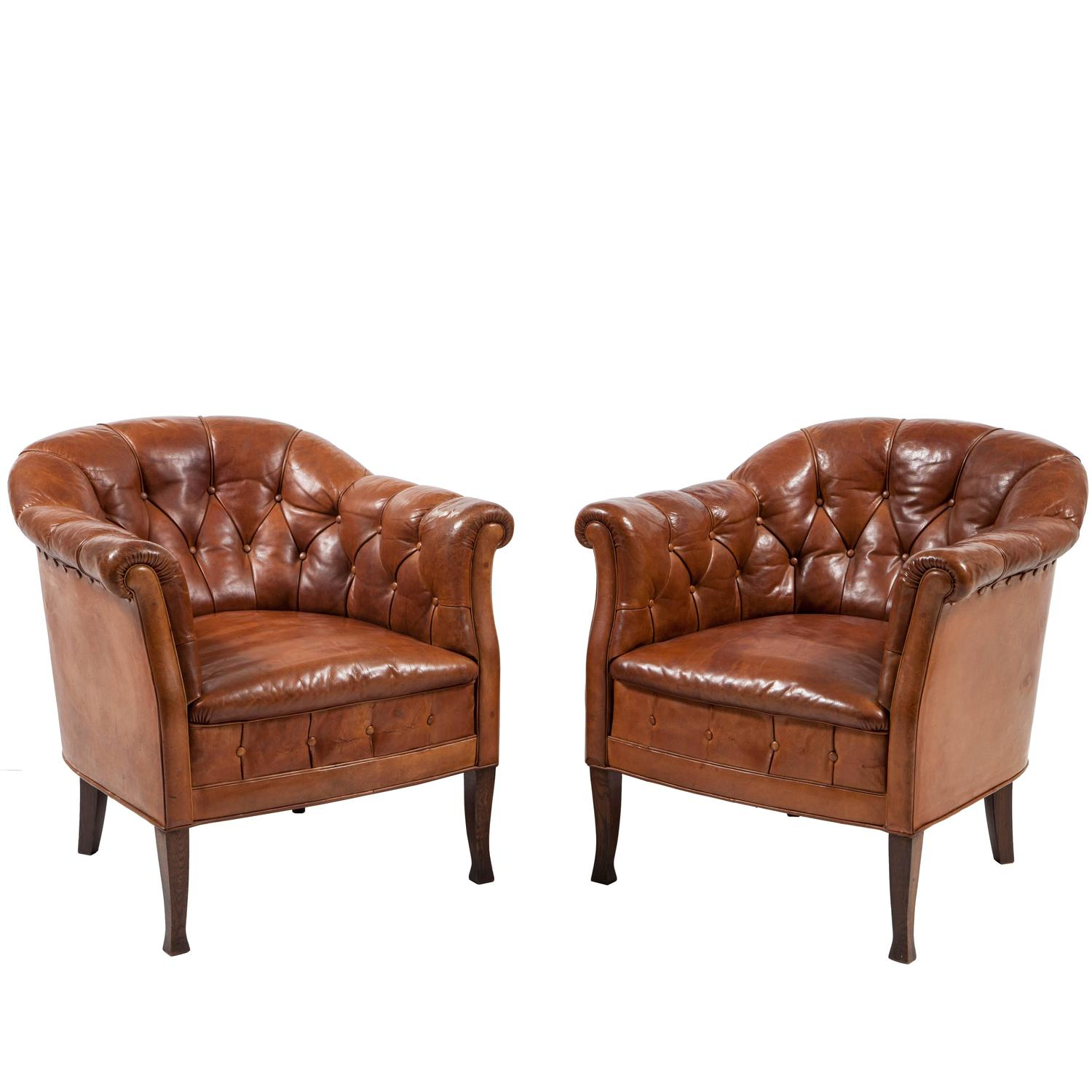 Small Leather Club Chair Pair Of Swedish Leather Club Chairs At 1stdibs