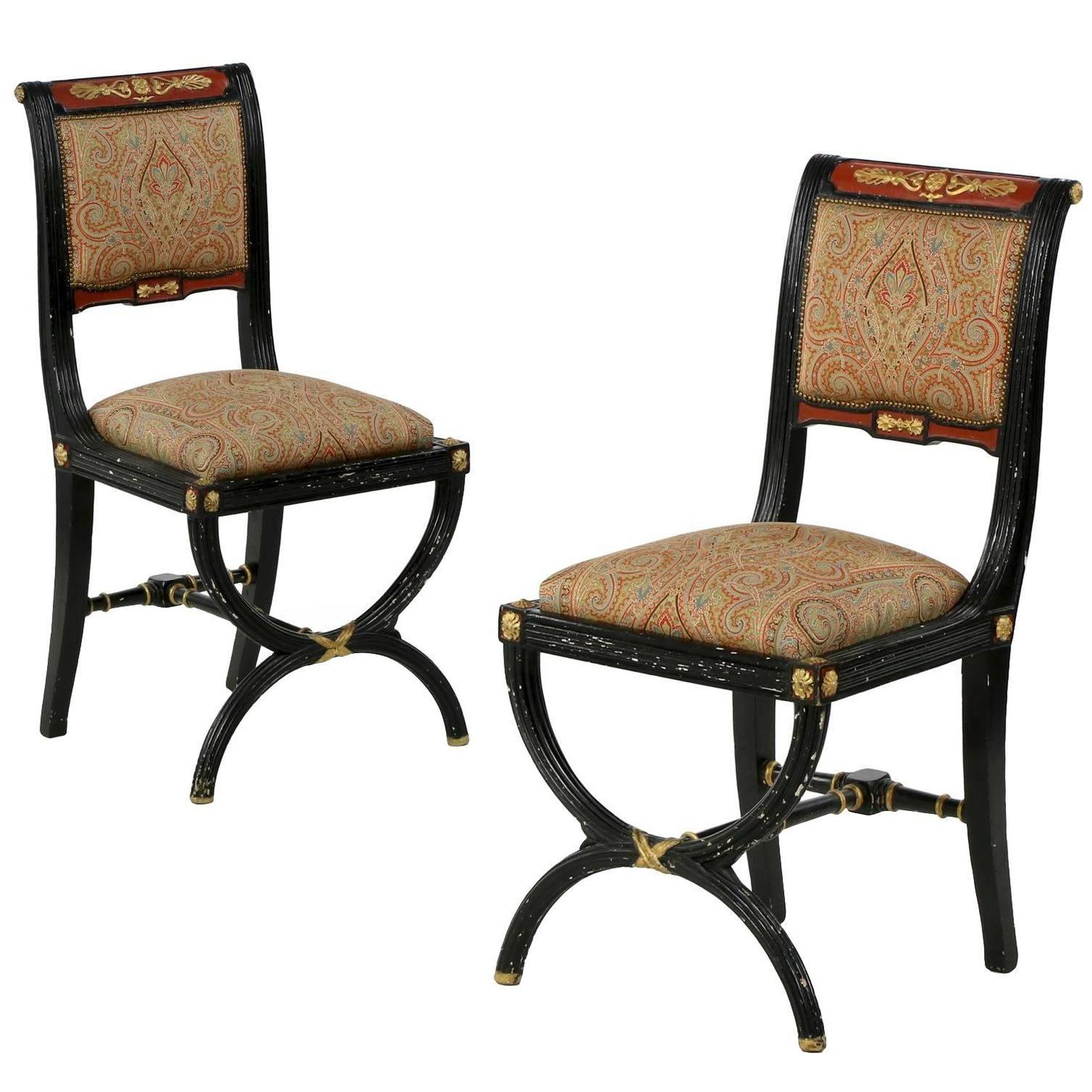 black and white paisley chair hanging rattan indoor pair of napoleon iii ebonized antique side chairs with