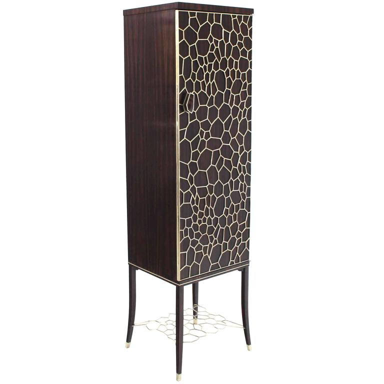 Brass and Brown Mahogany Tall Liquor Cabinet Bar at 1stdibs