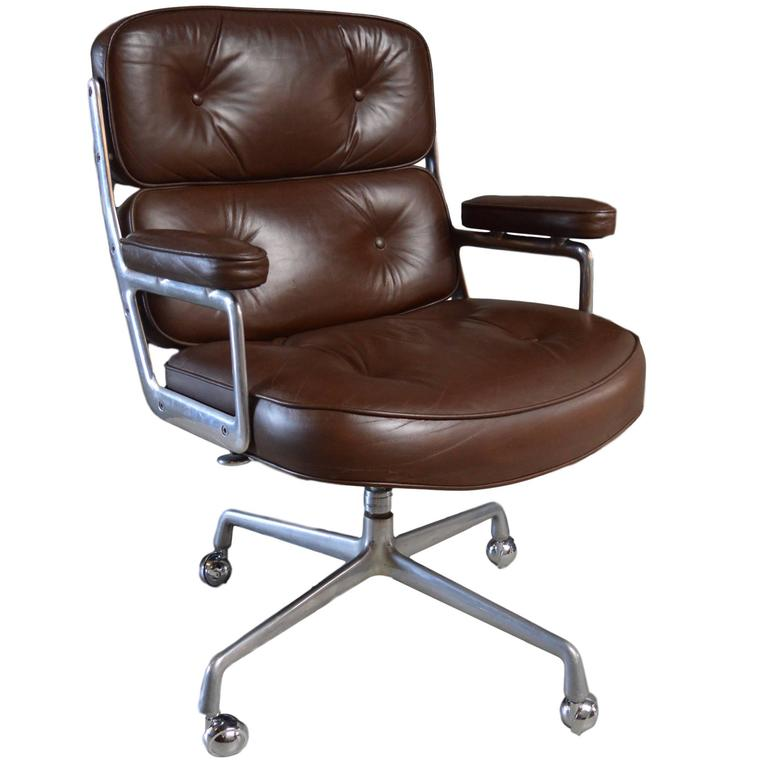 Vintage Leather Eames Time Life Chair For Sale at 1stdibs