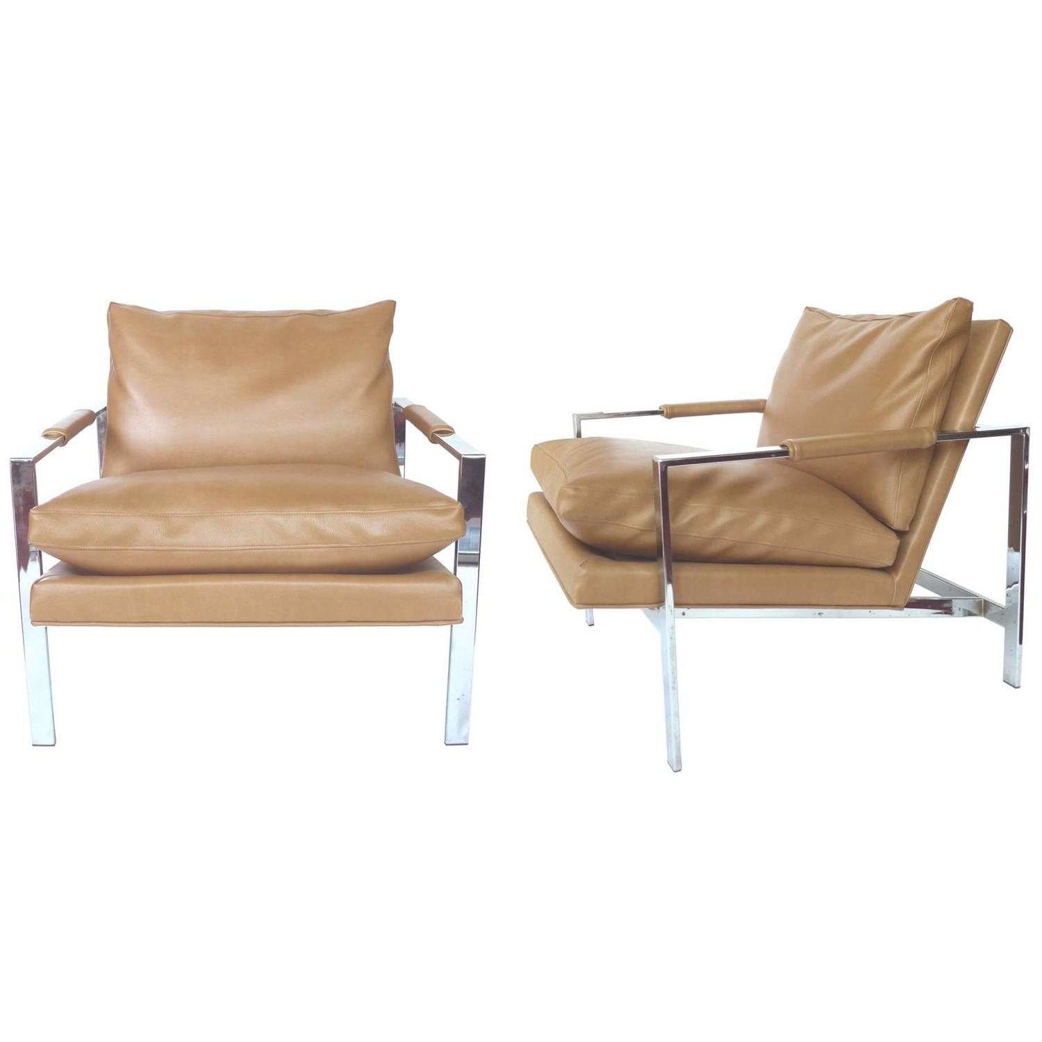 milo baughman chair diy bedroom hanging 1960s chrome lounge chairs a pair at 1stdibs