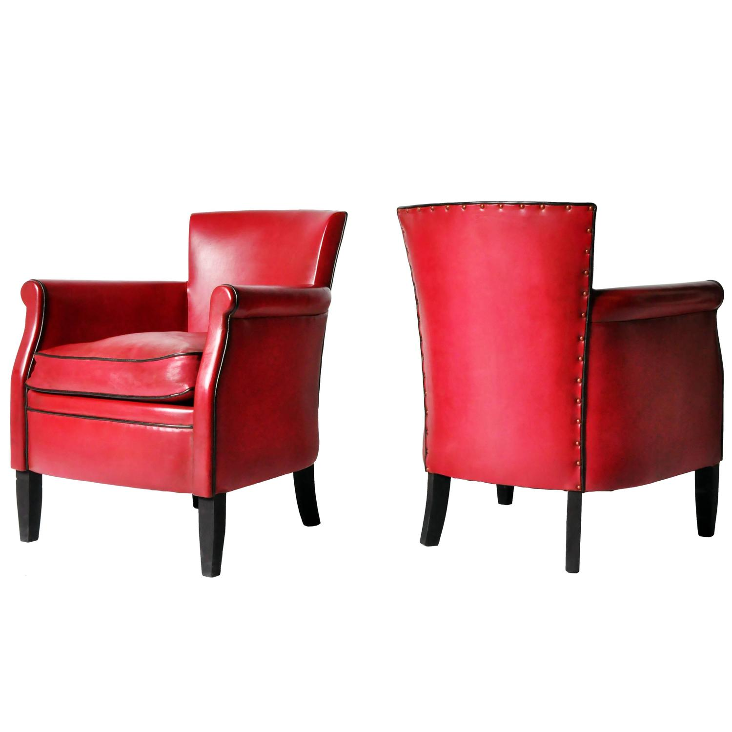 Petite Chairs Pair Of Petite Crimson Leather Club Chairs At 1stdibs