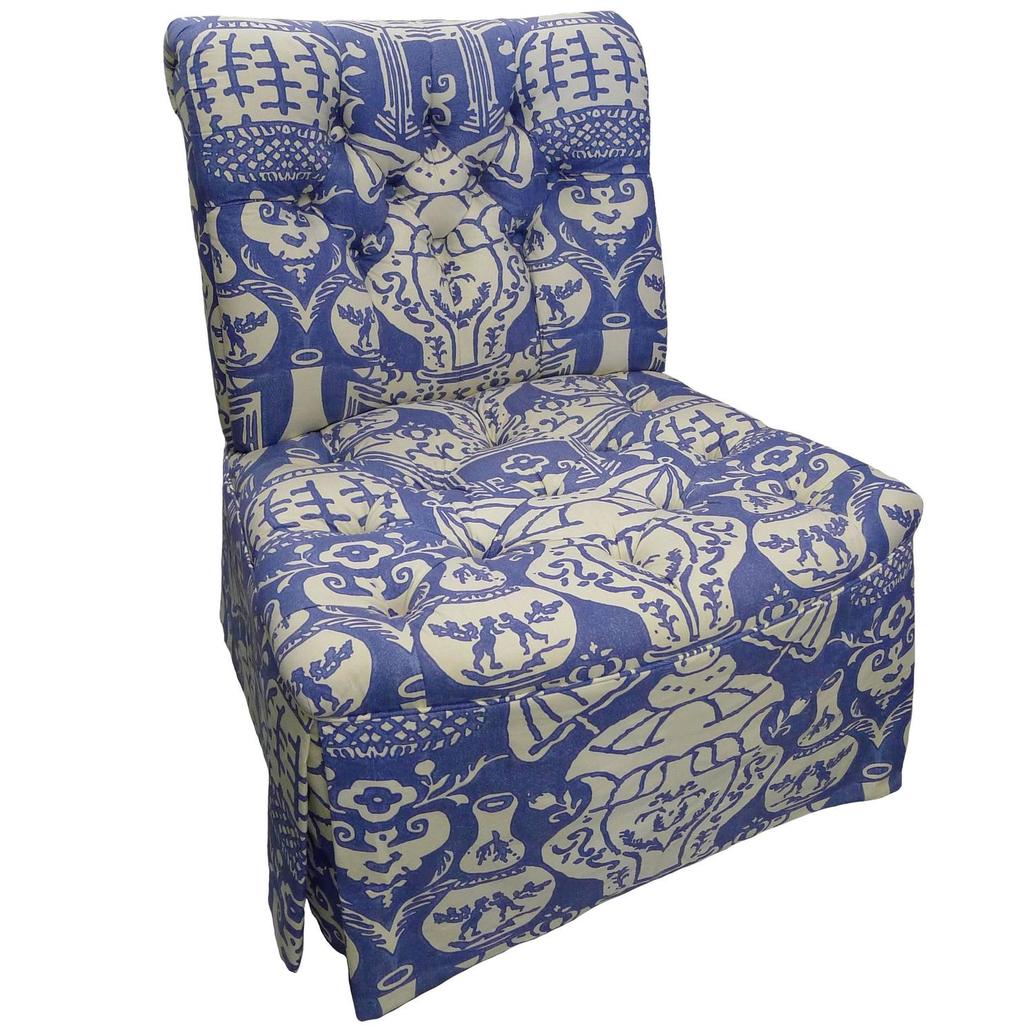 Blue Slipper Chair David Hicks The Vase Blue Upholstered Slipper Chair For