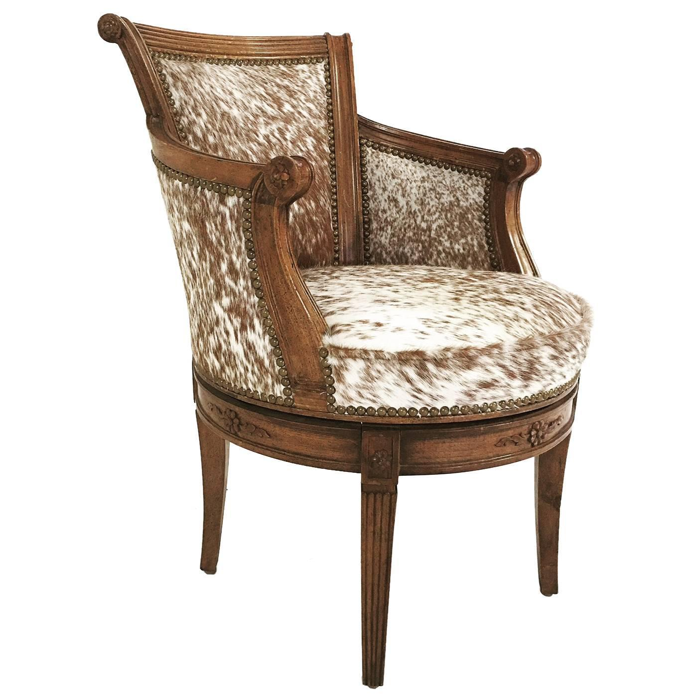 cowhide chairs nz linens and chair covers for weddings vintage swivel in brown white speckled brazilian
