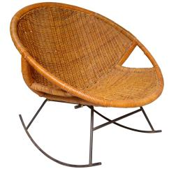 Iron Rocking Chair Green Dining Rattan And At 1stdibs
