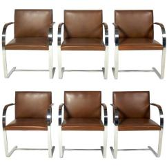 Leather Chrome Chair Art Deco Club Chairs Uk Set Of Six Knoll Brno And Dining At 1stdibs For Sale