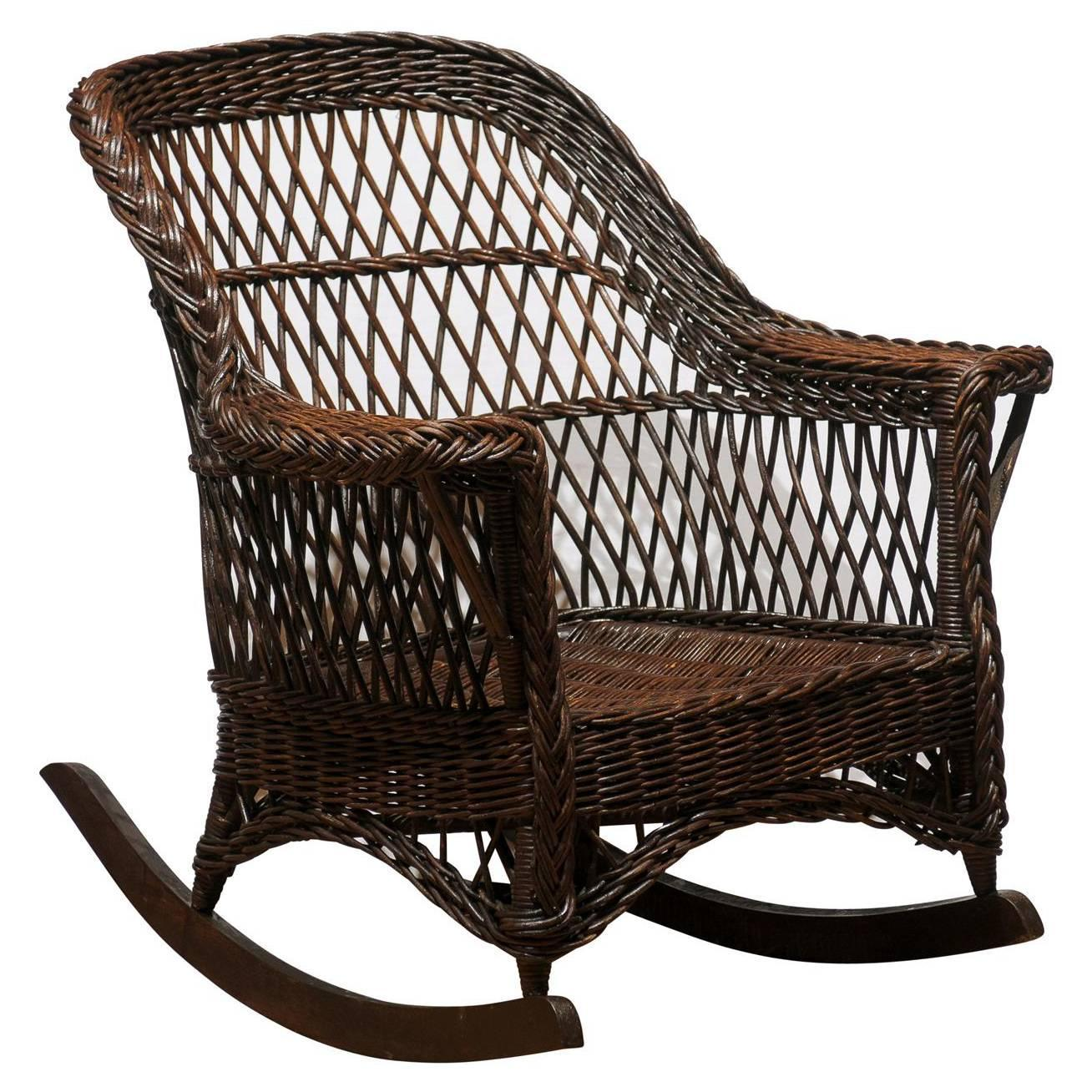 heywood wakefield dogbone chairs anti gravity chair leather pair of wicker rockers at 1stdibs