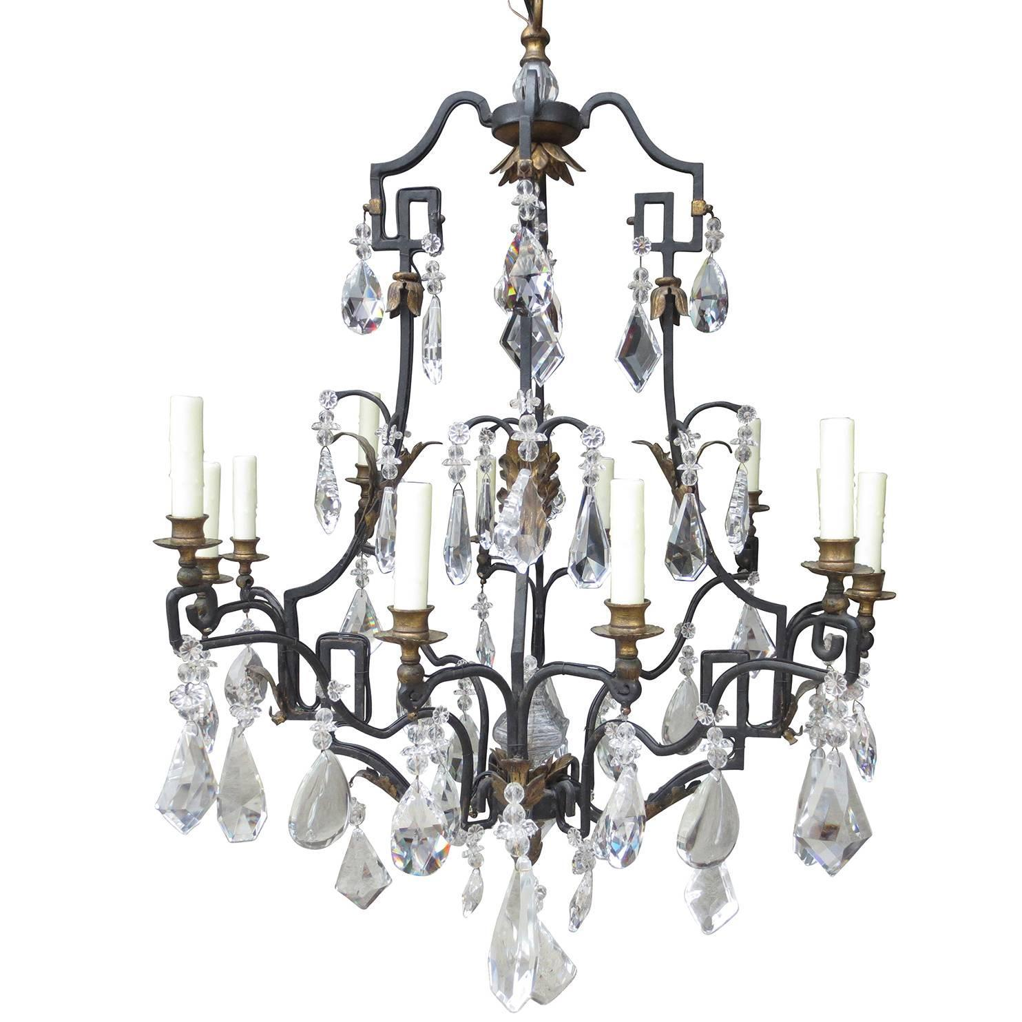 Large 20th Century French and Iron Crystal Chandelier by