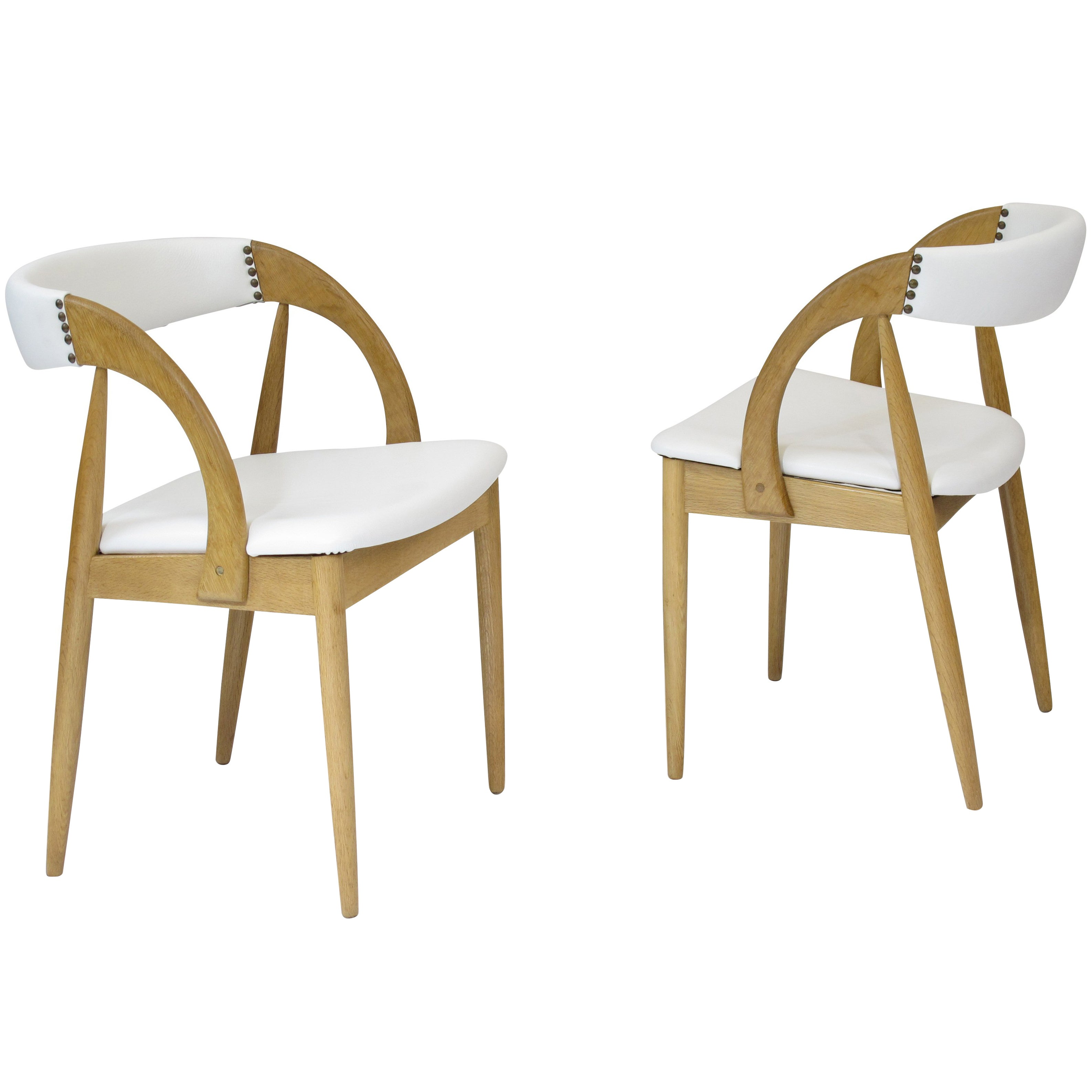 oak and white dining chairs desk chair gold coast pair of danish in leather at 1stdibs