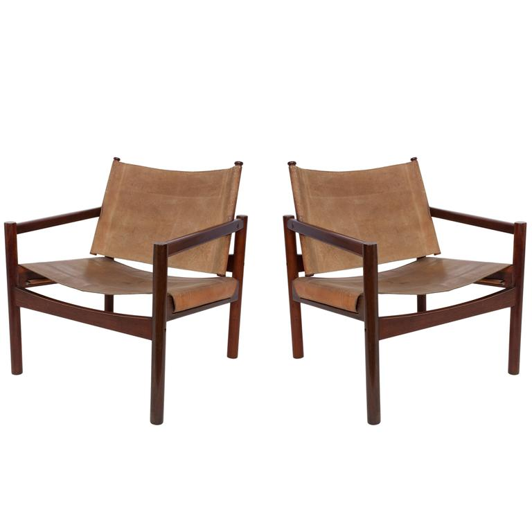 Pair of Michel Arnoult Leather Sling Back Chairs at 1stdibs