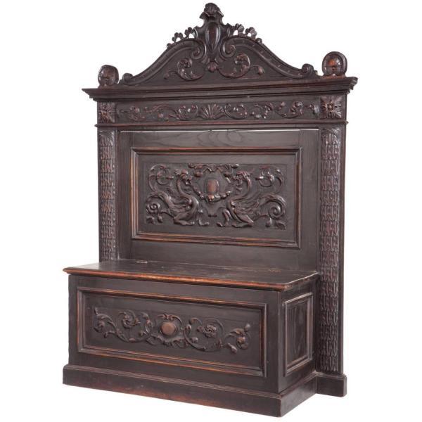 Italian Renaissance Revival Carved Oak Cassapanca Bench