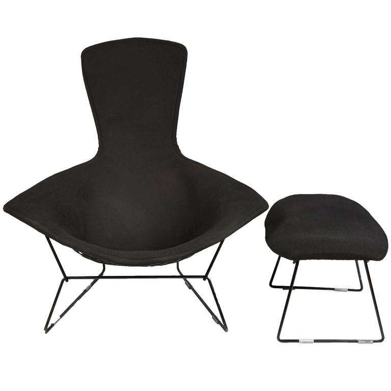 black chair and ottoman best folding for bad back vintage bertoia bird with full cover in classic boucle sale