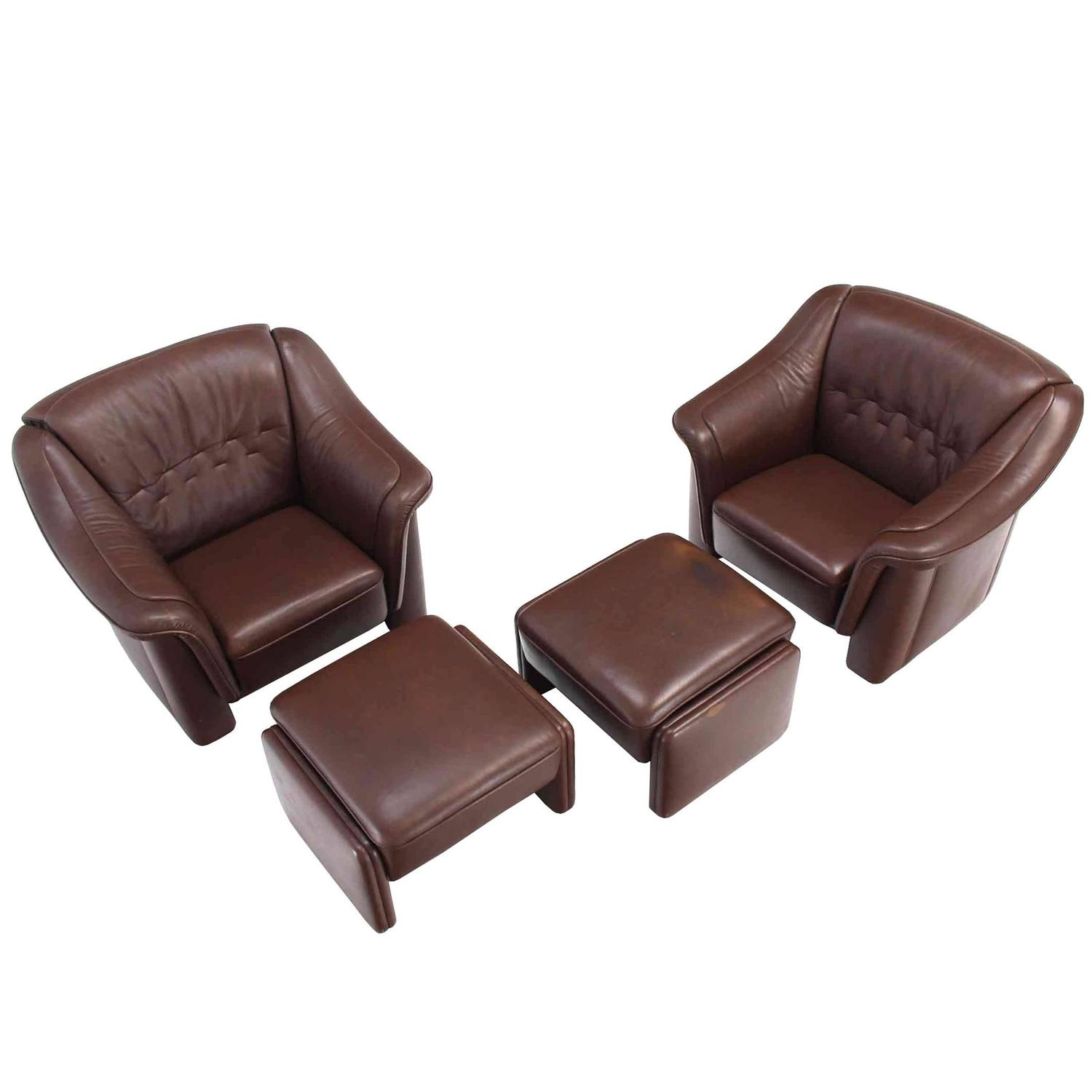 tan leather chair sale cheap chiavari chairs pair of brown lounge with ottomans for
