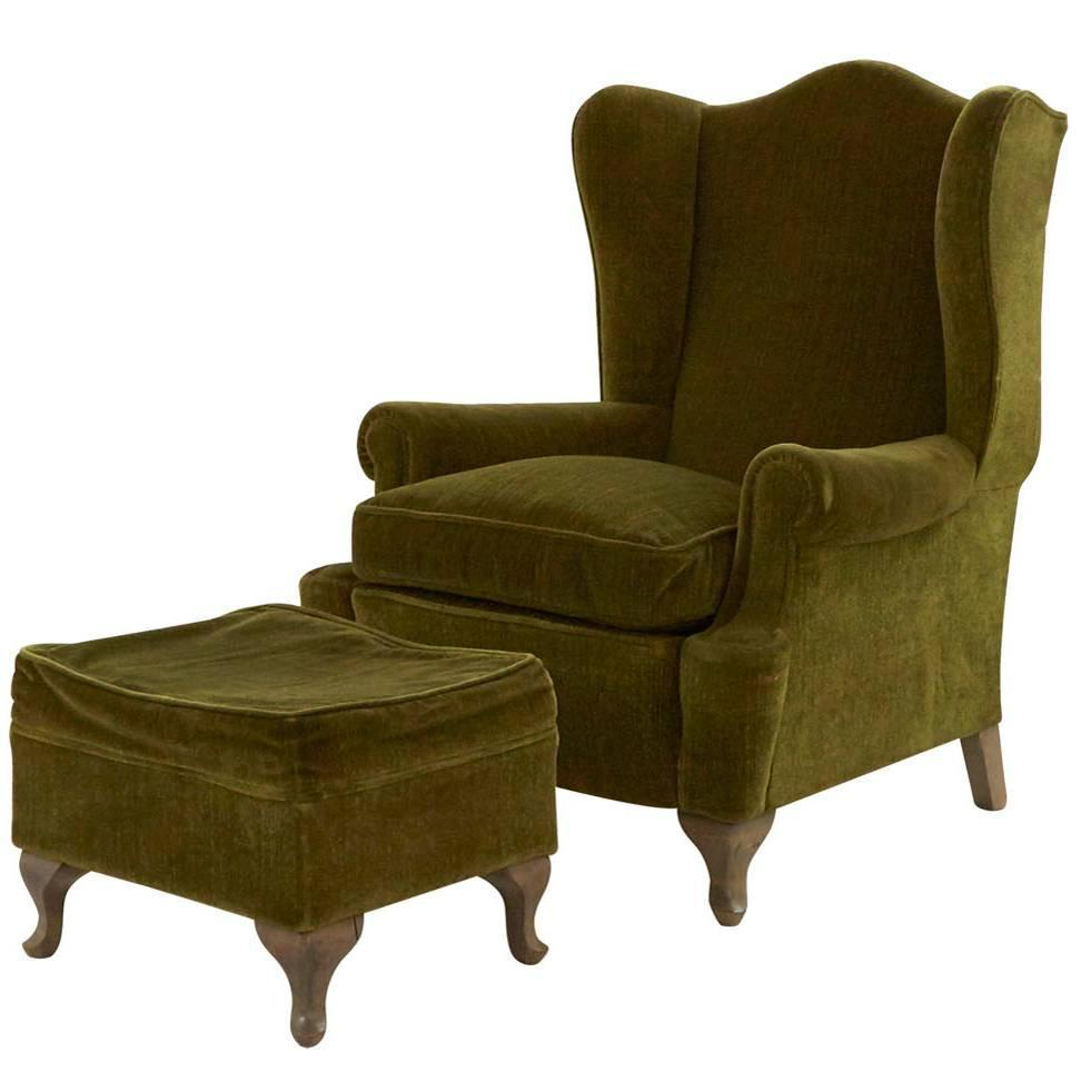 Vintage Wing Chair and Ottoman For Sale at 1stdibs