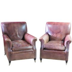 Tan Leather Chair Sale Feet Glides Pair Of Brown Club Chairs For At 1stdibs