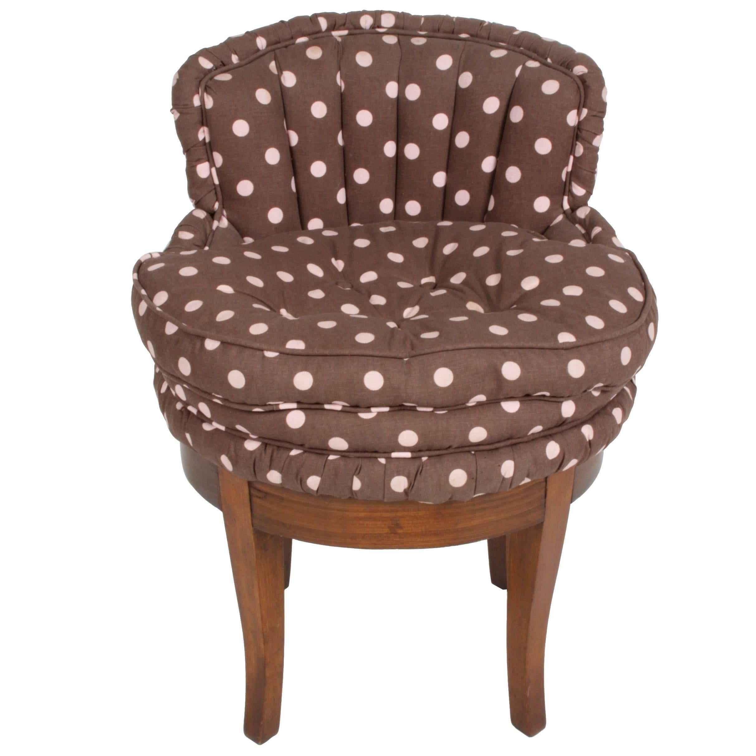 Tufted Vanity Chair 1940s Tufted Swivel Vanity Stool