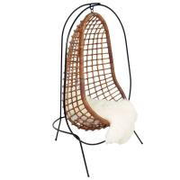Sculptural Iron and Rattan Hanging Chair at 1stdibs