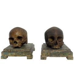 Wooden Skull Chair Positions For Scaling Pair Of Plaster Memento Mori Skulls Over Painted