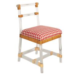 Ficks Reed Chair Next Home Covers Lucite Side With Rattan Accent For Sale
