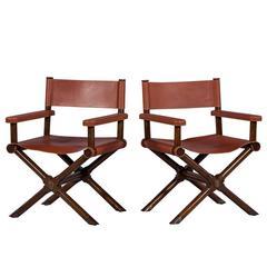 bamboo directors chairs chair arm protectors pattern pair of mcguire oak safari at 1stdibs modern desert