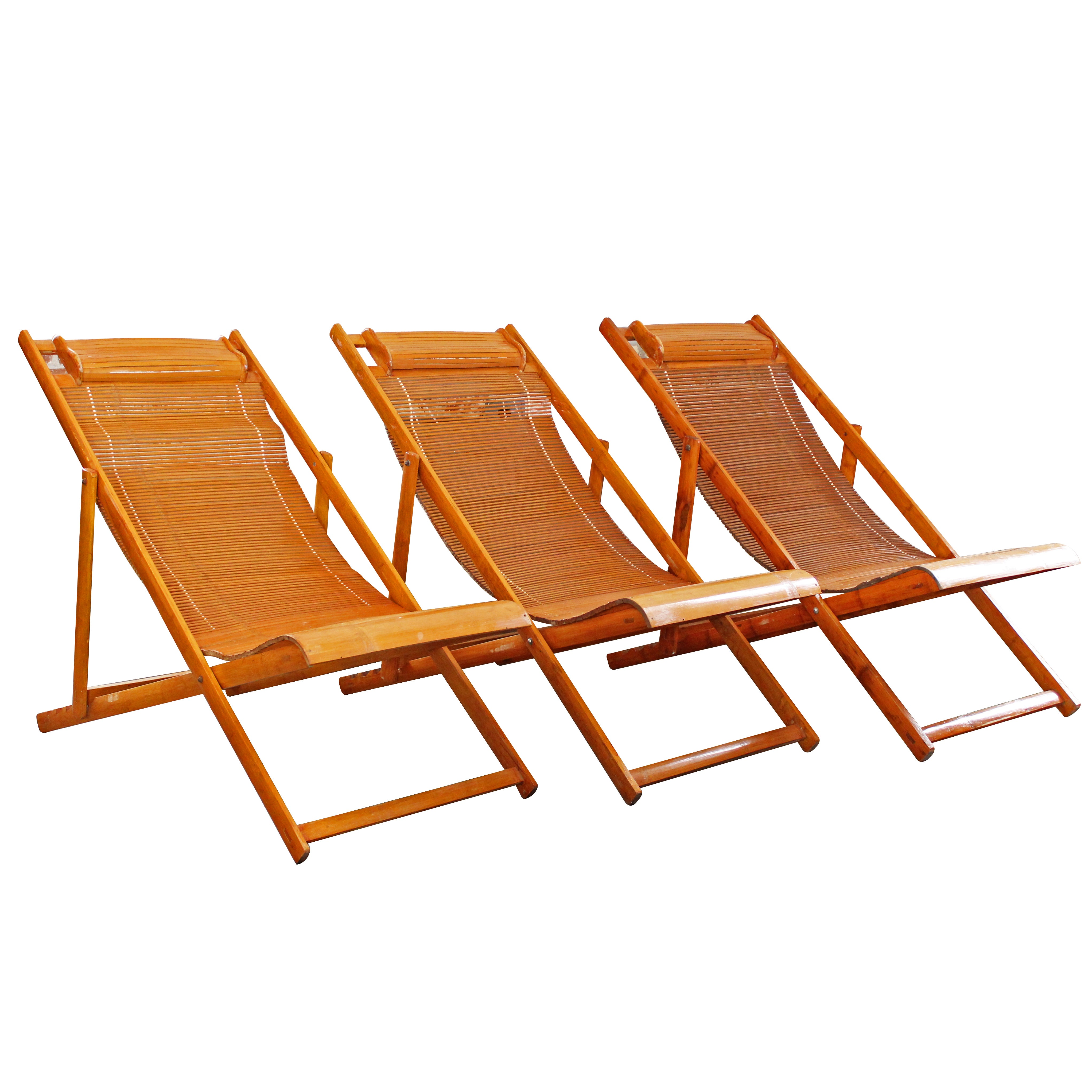 Folding Lounge Chair Vintage Bamboo Loungers Wood Japanese Deck Chairs Outdoor Fold Up Lounge Chairs