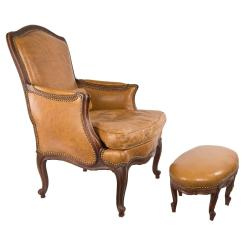 Leather Bergere Chair And Ottoman Swing Karachi Louis Xv Style Italian Walnut Tabouret For