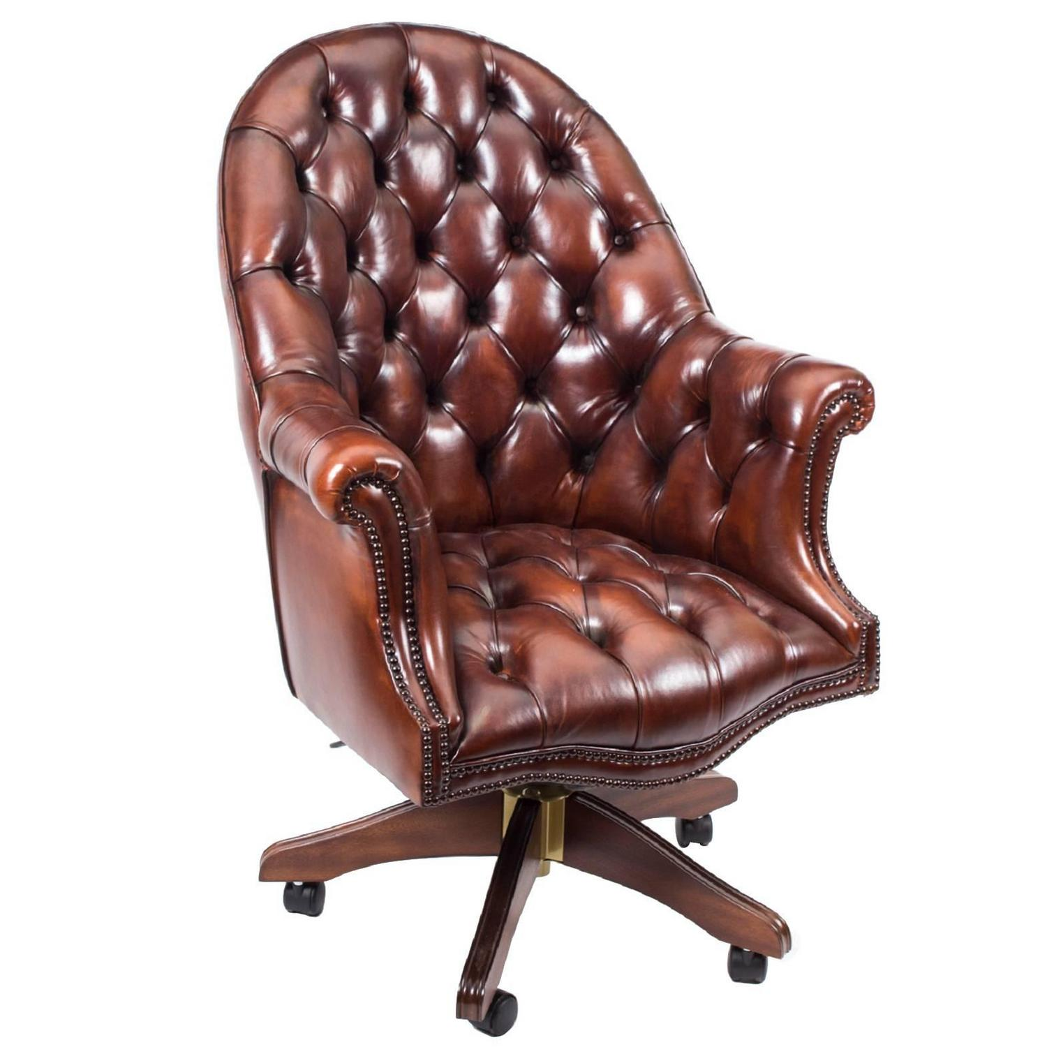 leather directors chair silver spandex covers english handmade desk bbo at 1stdibs