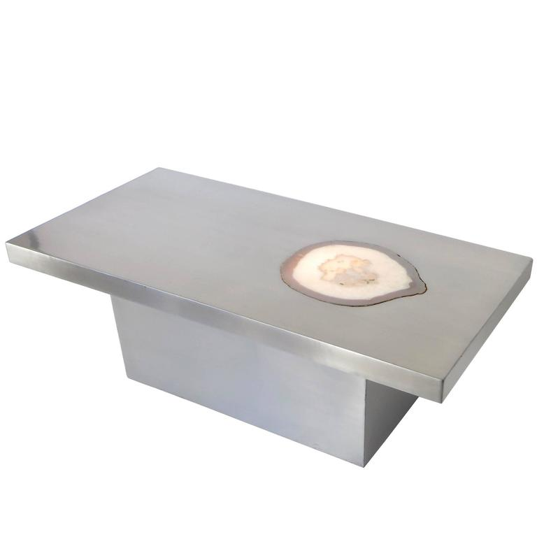 French Stainless Steel Inlaid Agate Coffee Table with