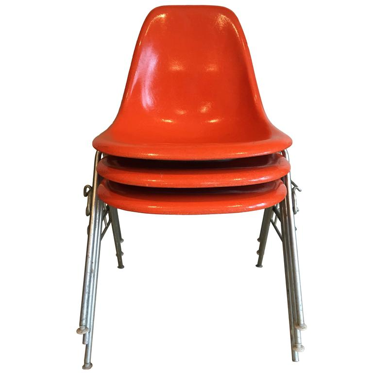 herman miller chairs vintage chair covers for sale sydney 18 orange dss eames fiberglass at 1stdibs