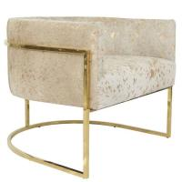Lisbon Accent Chair in Gold Speckled Cowhide and Brass For ...