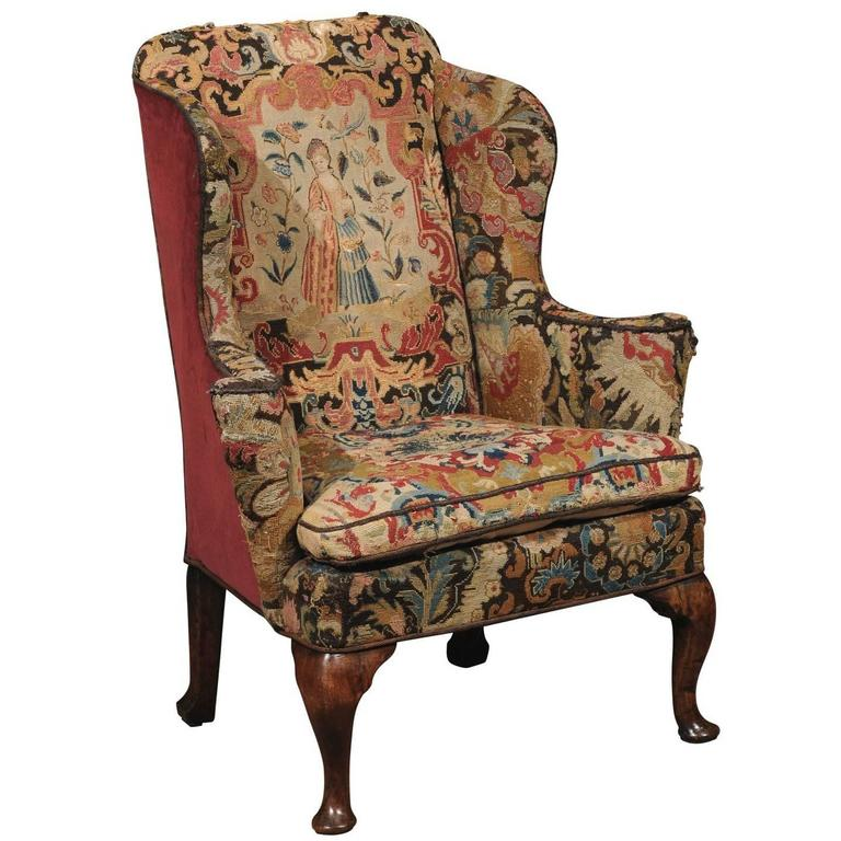 queen anne wing chair leather office chairs 18th century english in walnut with needlepoint tapestry for sale