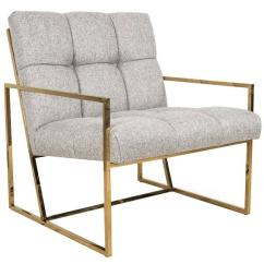 Mid Century Accent Chair Aeron Manual Modern Style In Textured Neutral Linen W Brass Frame For